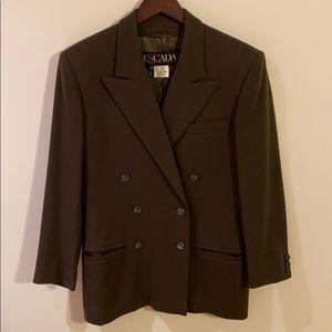 Vintage ESCADA Wool Cashmere Olive Blazer Jacket